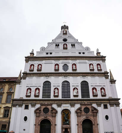 Facade of St. Michael's Church, Michaelskirche in Munich, Germany. The church was built by William V, Duke of Bavaria in 1583-1597. It is the largest Renaissance church north of the Alps