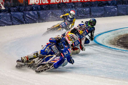 Inzell, Germany - March 16, 2019: World Ice Speedway Championship. The sport returns to the sport arenas after a decline