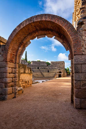 Roman Amphitheatre in Merida, Augusta Emerita in Extremadura, Spain. Roman City - Temples, Theatres, Monuments, Sculptures and Arenas 写真素材