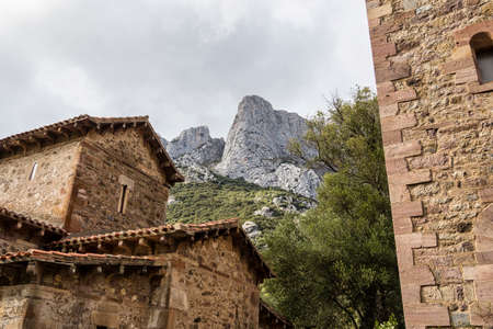 Santa Maria de Lebena small hermitage in Vega de Liebana, Cantabria, Spain. It was constructed in 925, and it is one of the best Pre-Romanesque art examples in Spain