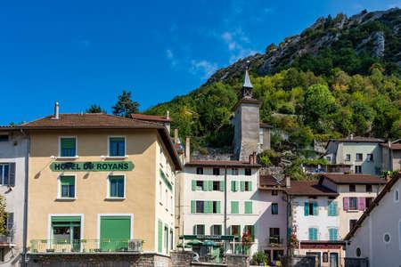 Pont en Royans, France - Sep 19, 2020: Pont en Royans, a charming picturesque medieval village in the Vercors national park near the Isere valley, Rhone-Alpes, Southeastern France Editorial