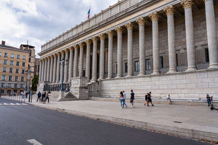 Lyon, France - Sep 28, 2020: Historic neoclassical courthouse Cour de Appeal built in 1840s with 24 columns in greek style is one of the most known landmarks of Lyon city and France