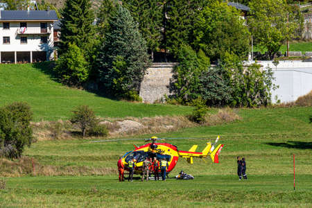 Beuil , France - Oct 03, 2020: Helicopter in the National parc of Mercantour near Beuil located in south of France