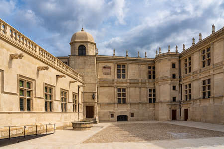 Grignan, France - Sep 21, 2020: Grignan Chateau, Department Drome in France is a fortified castle dating back to the 12th century and transformed during the Renaissance into a magnificent residence.