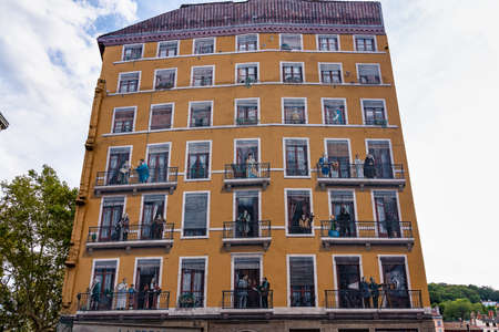 Lyon, France - Sep 28, 2020: Mur des Canuts is the biggest fresco in Europe, created by artists of Lyon who realize such trompe-l'oeil all over the world. Realized in 1987 in Croix-Rousse district,