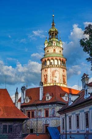 St. Vitus Church and cityscape Cesky Krumlov, Czech republic in Europa. Imagens