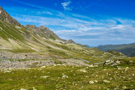 Beautiful view from Fluela Pass near Davos - Grisons, Switzerland, Europe.