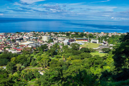 Scenic view of Roseau town and sea, Dominica island. Seen from the small mountain Morne Bruce. From the top of Morne Bruce one can enjoy a beautiful panoramic view of Roseau and western coastline