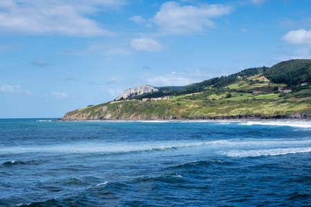 Spainsh coastline in Basque country. Mundaka beach in Spain