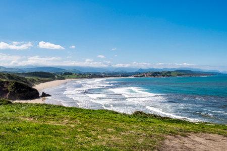 Beautiful landscape with beach in San Vincente de la Barquera in Spain. North coast of Spain. Bay of Biscay.