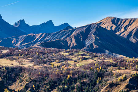 French countryside. Saint Jean de Maurienne: view of the heights of the Vercors, the marly hills and the valley Val de Drome, France
