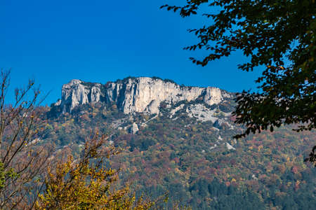 French countryside. Pas de l'Aubasse: Panoramic view of the heights of the Vercors, the marly hills and the valley Val de Drome.