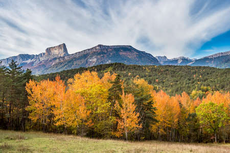 French countryside. Clelles: view of the heights of the Vercors, the marly hills and the valley Val de Drome, France in Europe