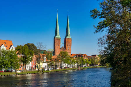 View of the Old Town pier architecture in Lubeck in Germany, Europe Imagens