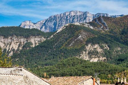Landscape around Chatillon en Diois village in Vercors Natural Regional Park, Diois, Drome, France in Europe