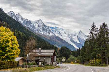 The high mountains of Haute Savoie in autumn. French Alps near Vallorcine, Chamonix-Mont-Blanc in France.