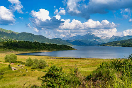 Lake of Campotosto in Abruzzo, Italy. A huge artificial lake at 1400 meters above sea level, in the heart of the Appennini mountains, province of L'Aquila