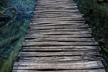 Wooden path in Plitvice National Park, Croatia. One of the oldest and largest national parks in Croatia. In 1979 it was added to the register