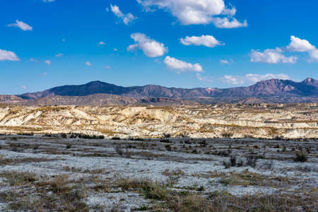 The Badlands of Abanilla and Mahoya near Murcia in Spain. An area where a lunar landscape has been formed by the erosive force of water over the millennia. 免版税图像