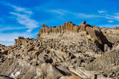 Dragon Tail, Colas de Dragon in Tabernas Desert in Almeria, Spain. Geological erosion called tubirtitas, called Tail Dragon, for its particular linear shape and large stones that simulate scales. 免版税图像