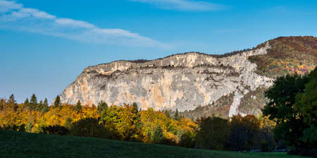 French countryside. Saint Julien en Vercor: view of the heights of the Vercors, the marly hills and the valley Val de Drome in France 免版税图像