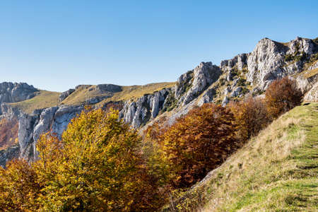 French countryside. Col de la Bataille: view of the heights of the Vercors, the marly hills and the valley Val de Drome in France, Europe