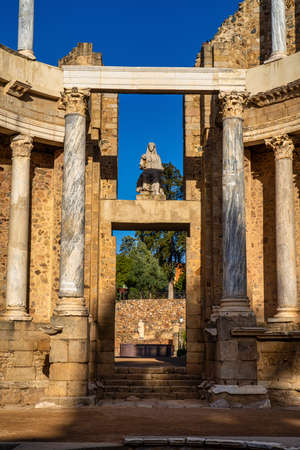 Roman Amphitheatre in Merida, Augusta Emerita in Extremadura, Spain. Roman City - Temples, Theatres, Monuments, Sculptures and Arenas Stockfoto