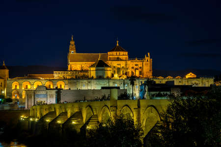 Mezquita-Catedral and Puente Romano - Mosque-Cathedral and the Roman Bridge in Cordoba, Andalusia, Spain at night