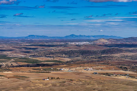 Landscape view of Extremadura near Feria in Spain.