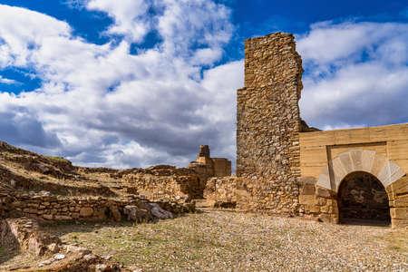 Alcazaba de Reina, Moorish fortress over village of Reina, Badajoz province, Extremadura, Spain Stockfoto