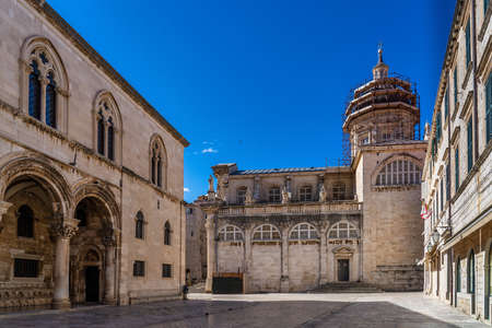 Baroque building of the Assumption Cathedral of Dubrovnik, Croatia. Treasury inside the old town of Dubrovnik
