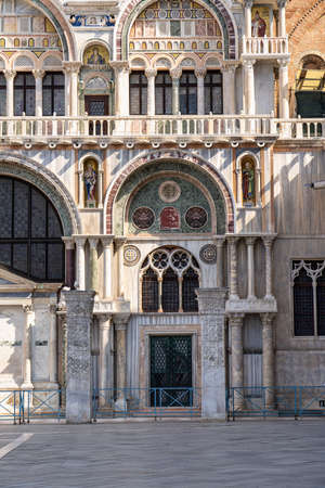 St. Mark's square, San Marco is the tourist heart of Venice with iconic sights of St. Mark's basilica, campanile cathedral tower and Doge's Palace