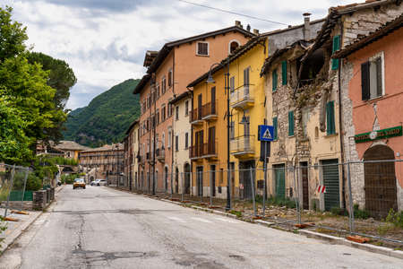 The historic center of Visso city at July 2020 after the earthquake of central Italy in 2016