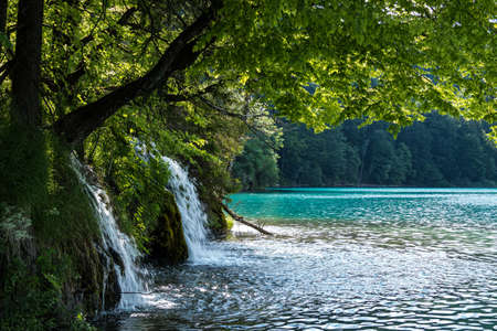 Majestic view on waterfall with turquoise water in the Plitvice Lakes National Park, Croatia. Europe. One of the oldest and largest national parks in Croatia. Stockfoto