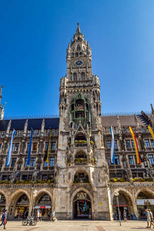 Munich, Germany - Jul 27, 2020: The New Town Hall, is a town hall at the northern part of Marienplatz. It hosts the city government including the city council and part of the administration. Redactioneel