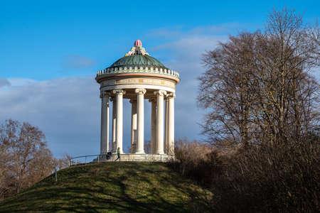 Munich, Germany - Oct 01, 2020: Monopteros - Greek style temple in Englischer Garten. Munich in Germany Redactioneel