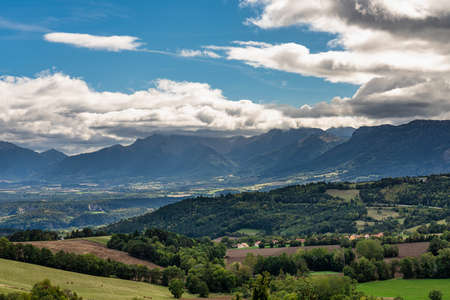 Landscape view at Monestier de Clermont near Annecy in Haute-Savoie in the Auvergne-Rhone-Alpes region of France