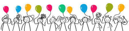 Horizontal banner with cartoon stick figures, smiling and laughing children holding colorful balloons celebrating, birthday party