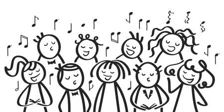 Funny cartoon choir, men and women, children sining song, black stick people on white background