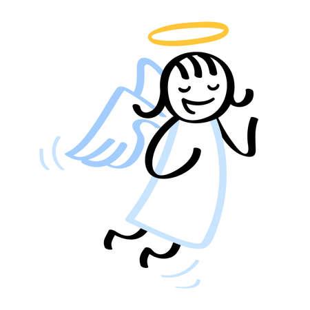 Funny cartoon angel levitating stick figure with angel wings and halo Ilustración de vector