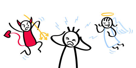 Man having a moral conflict, desperate screaming stick figure with devil and angel over his shoulders, can not make a decision