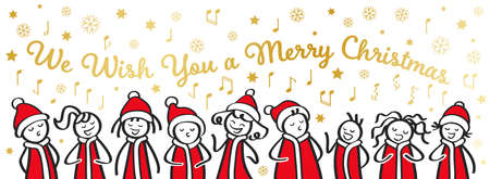 Cartoon kids in santa costumes singing Christmas carol, gold lettering We Wish You a Merry Christmas, snowflakes, notes and stars