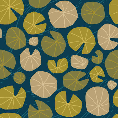 Lotus and lily pond, shades of green on blue / petrol background, seamless repeat pattern, wallpaper, surface design pattern 向量圖像