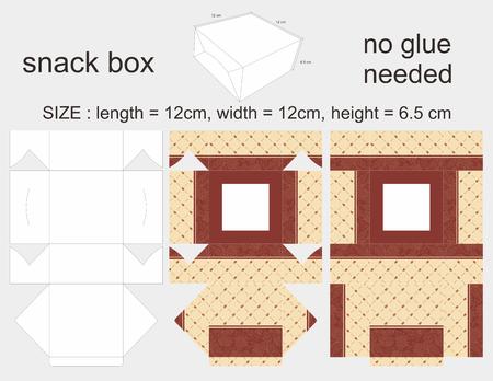 6 12: Brown Snack Box 12 x 12 x 6,5 cm