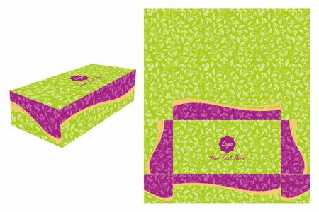 violet: Green and Violet Cake Box Illustration