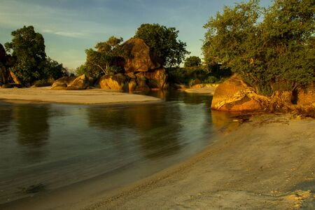 pulau: this is a belitung Stock Photo