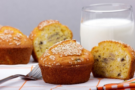 Homemade delicious muffins from corn flour with a glass of yogurt  photo