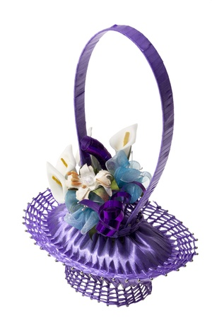 Decorative basket made from a soap, pins and violet ribbon with artificial flowers, isolated on white  Suitable as gift for birthday or Mother s Day  Stock Photo - 13386185