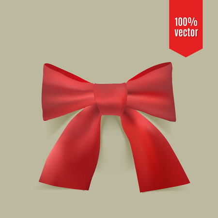 Realistic red bow. Red bow for decoration gifts or greetings or holidays. Vector illustration. Illustration