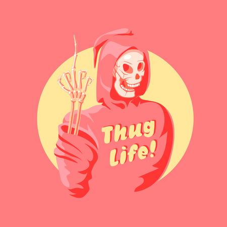 Funny pink pop art death. Vector illustration